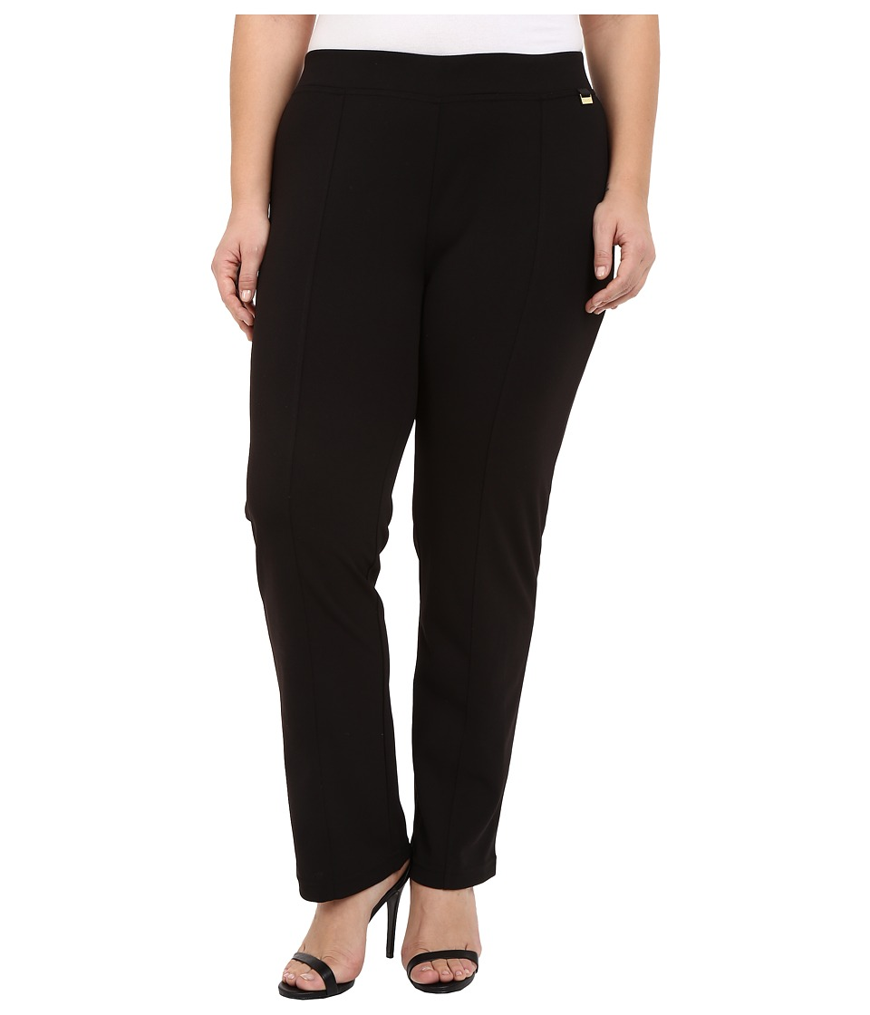 Calvin Klein Plus Plus Size Crepe Compression Straight Pants Black Womens Casual Pants