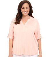 Calvin Klein Plus - Plus Size High-Low Roll Sleeve w/ Woven