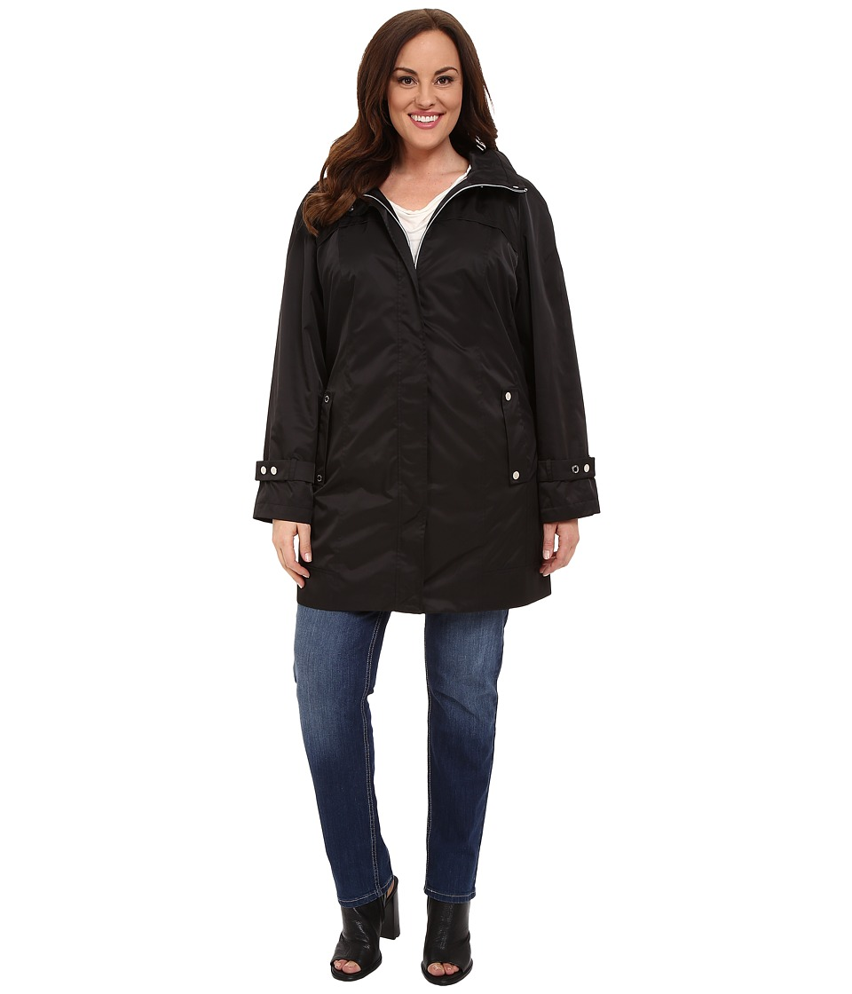 Calvin Klein Plus - Plus Size Long Packable Anorak (Black) Womens Coat