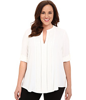 Calvin Klein Plus - Plus Size Roll Sleeve w/ Embroidery