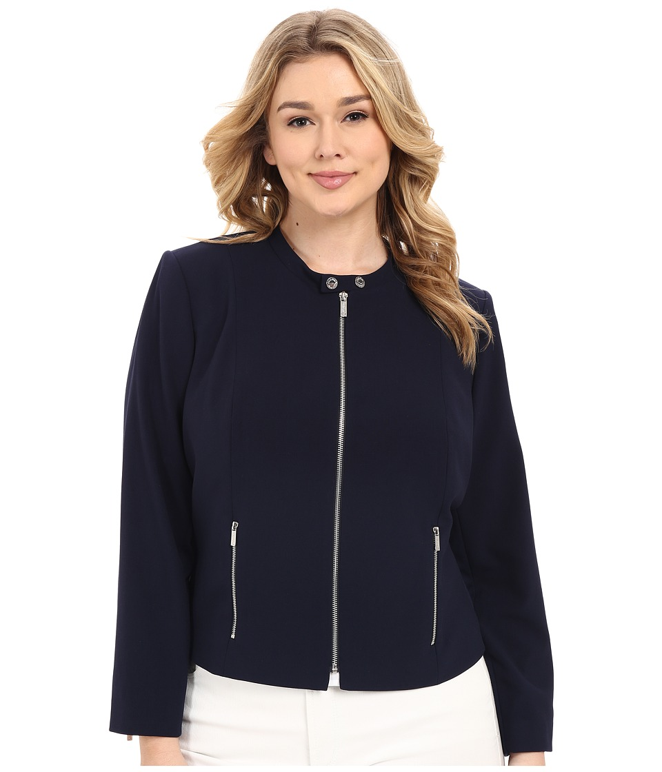 Calvin Klein Plus Plus Size Lux Jacket w/ Zip Twilight Womens Coat