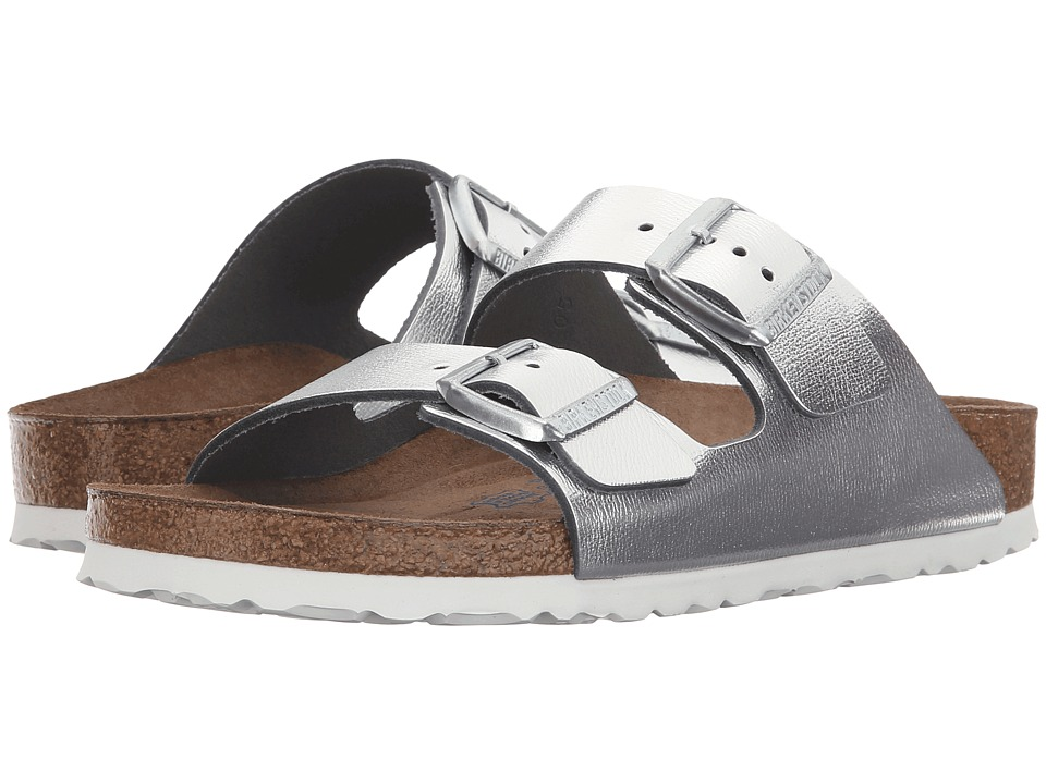 Birkenstock Arizona Soft Footbed Silver Metallic Womens Dress Sandals
