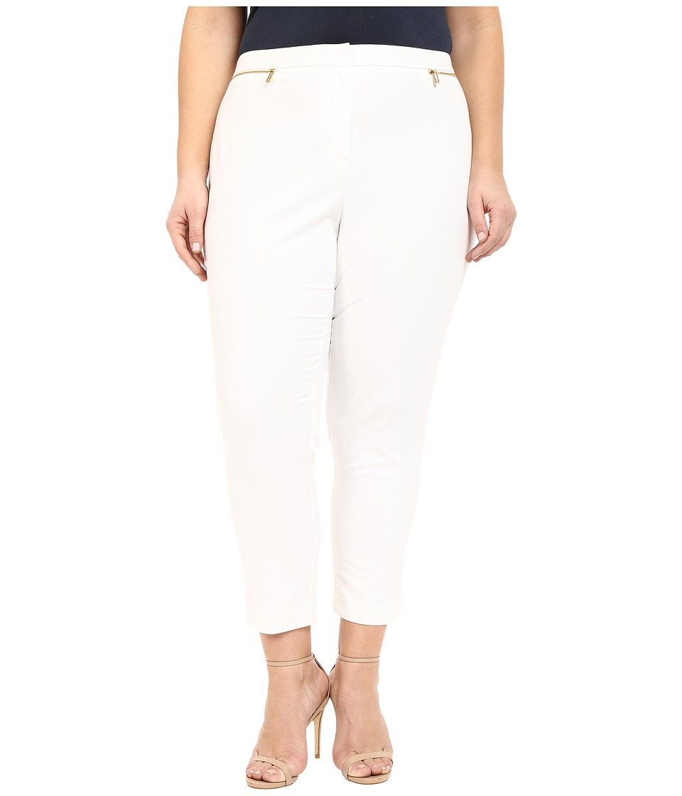Calvin Klein Plus Plus Size Ankle Pants w/ Zips Soft White Womens Casual Pants