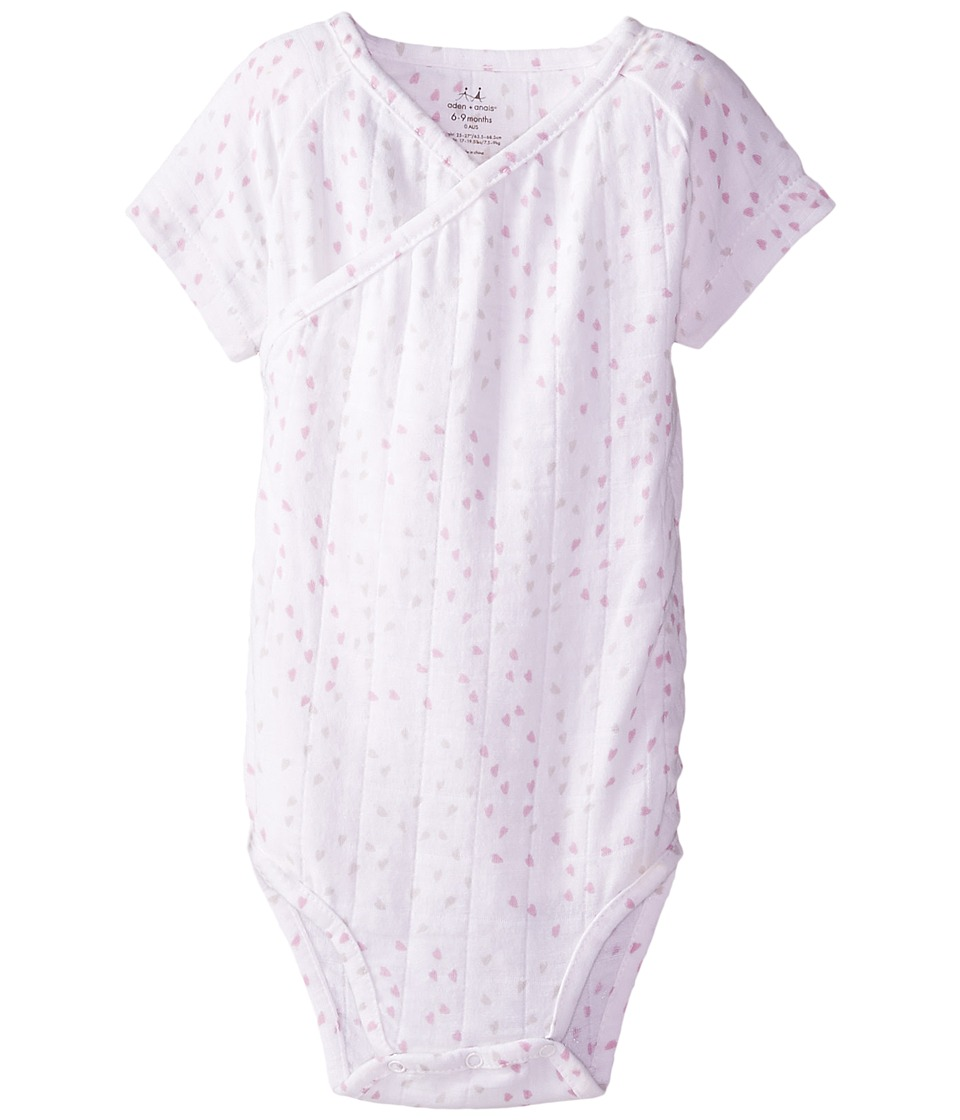 aden + anais - Short Sleeve Body Suit (Infant) (Lovely Mini Hearts) Kids Jumpsuit & Rompers One Piece