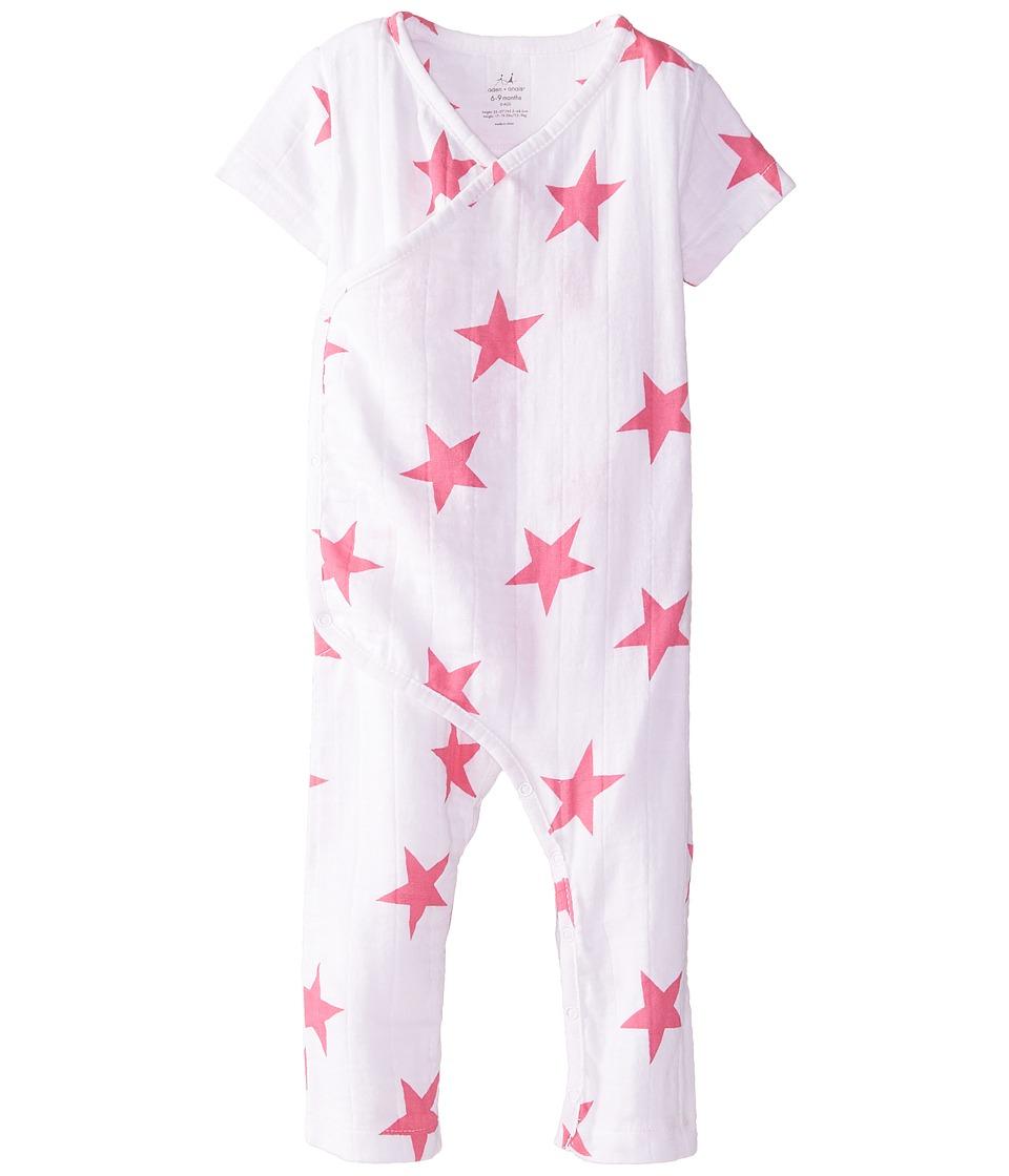 aden anais Short Sleeve Kimono Bodysuit Infant Pink Star Kids Blouse