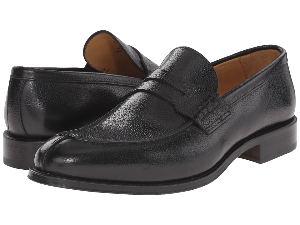 Crosby Square Peck Black Pebble Grain Mens Slip on Shoes