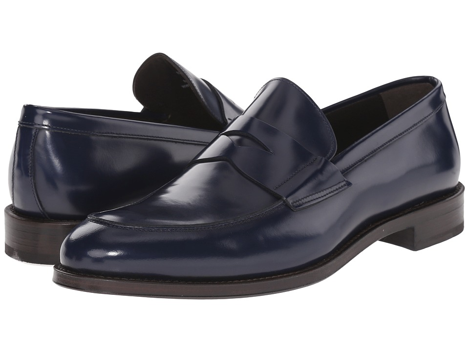 Crosby Square Burtson Navy High Shine Mens Slip on Shoes