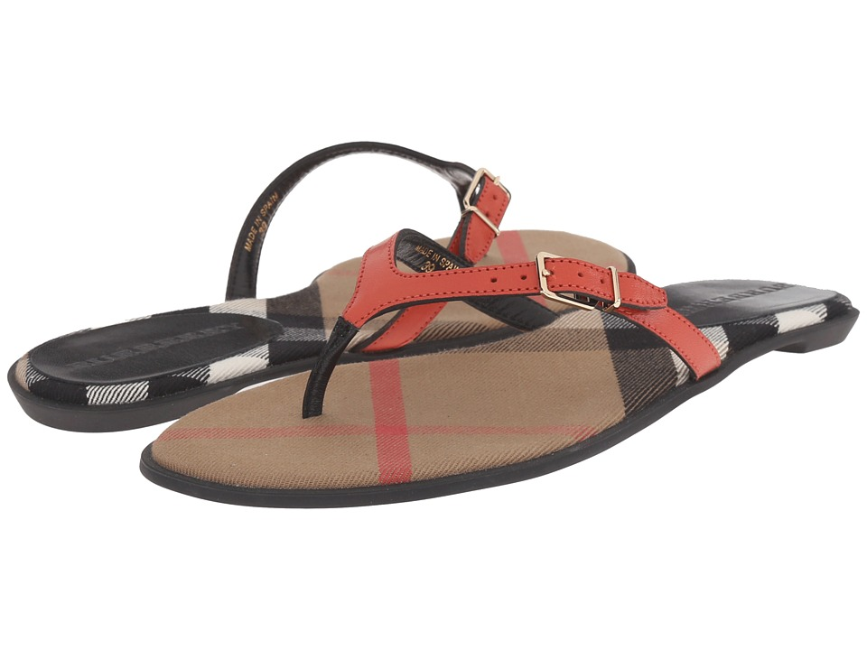 Burberry Meadow Coral Red Womens Sandals