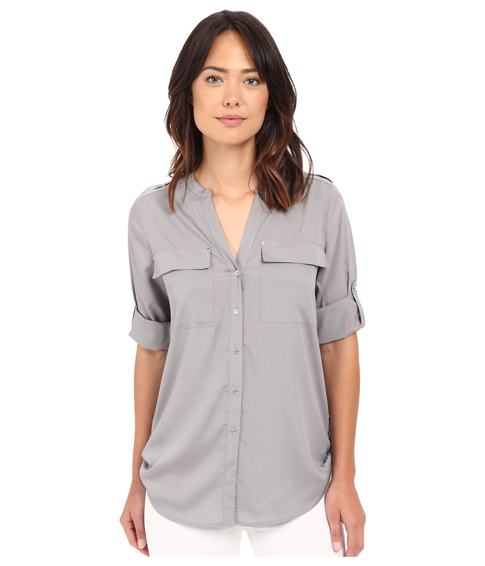 Calvin Klein - Crew Neck Roll Sleeve Top (Tin) Womens Blouse