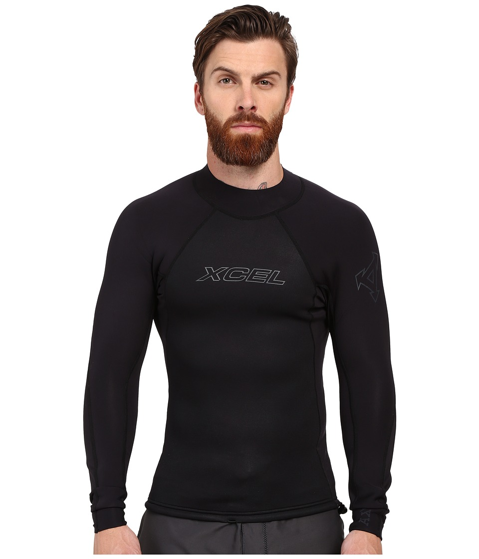 XCEL Wetsuits 2/1mm Axis Long Sleeve Top Black Mens Swimwear