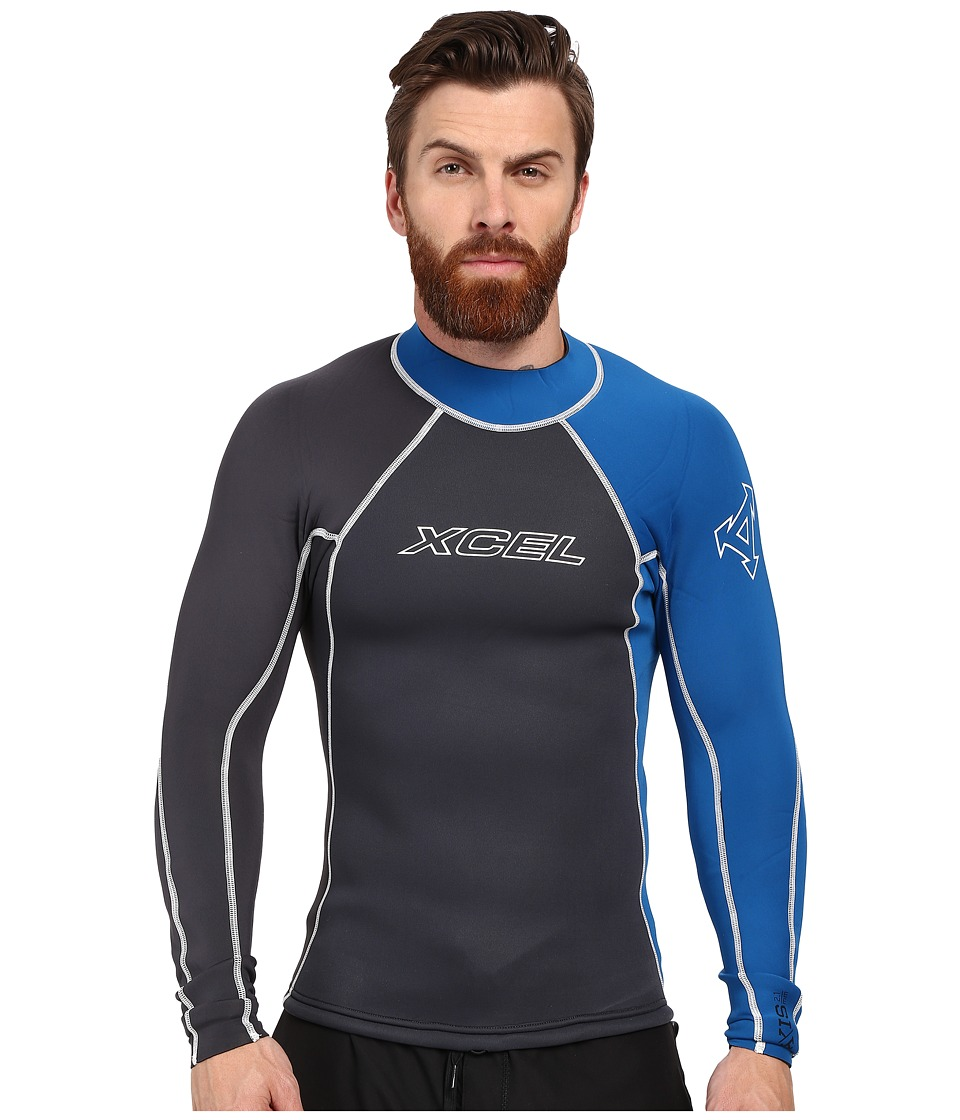 XCEL Wetsuits 2/1mm Axis Long Sleeve Top Graphite/Nautical Blue Mens Swimwear