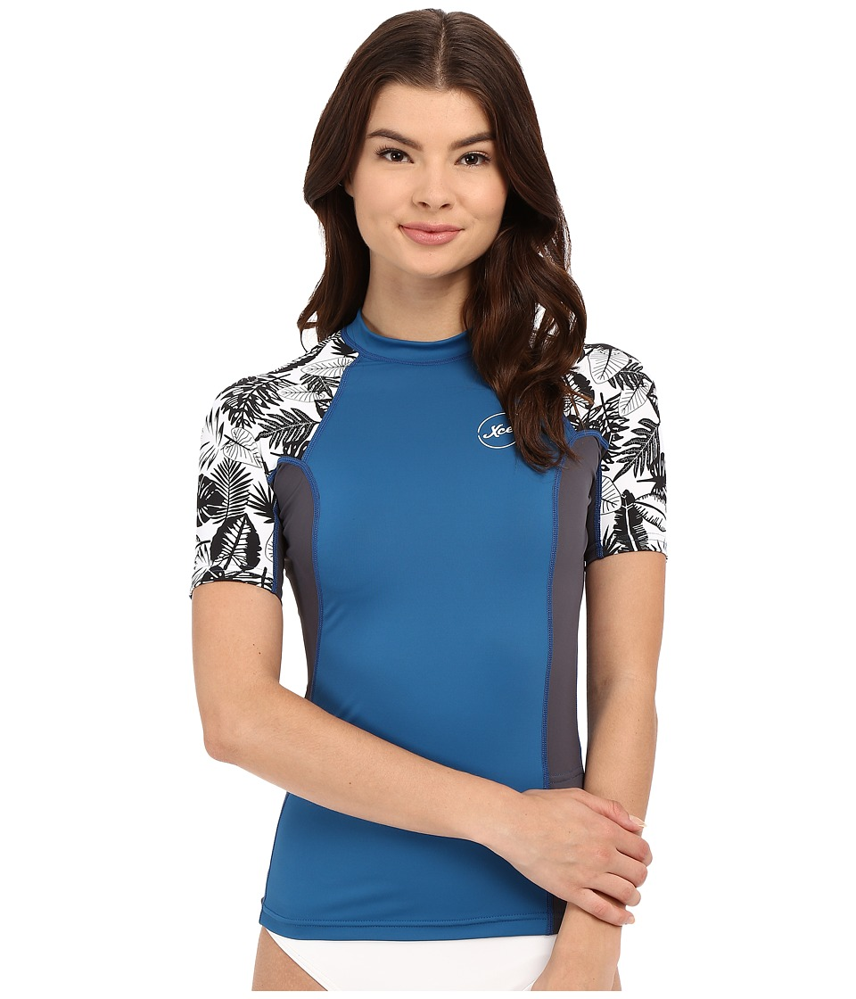 XCEL Wetsuits Ala Moana UV Short Sleeve with Key Pocket Denim/Gunmetal/White Womens Swimwear