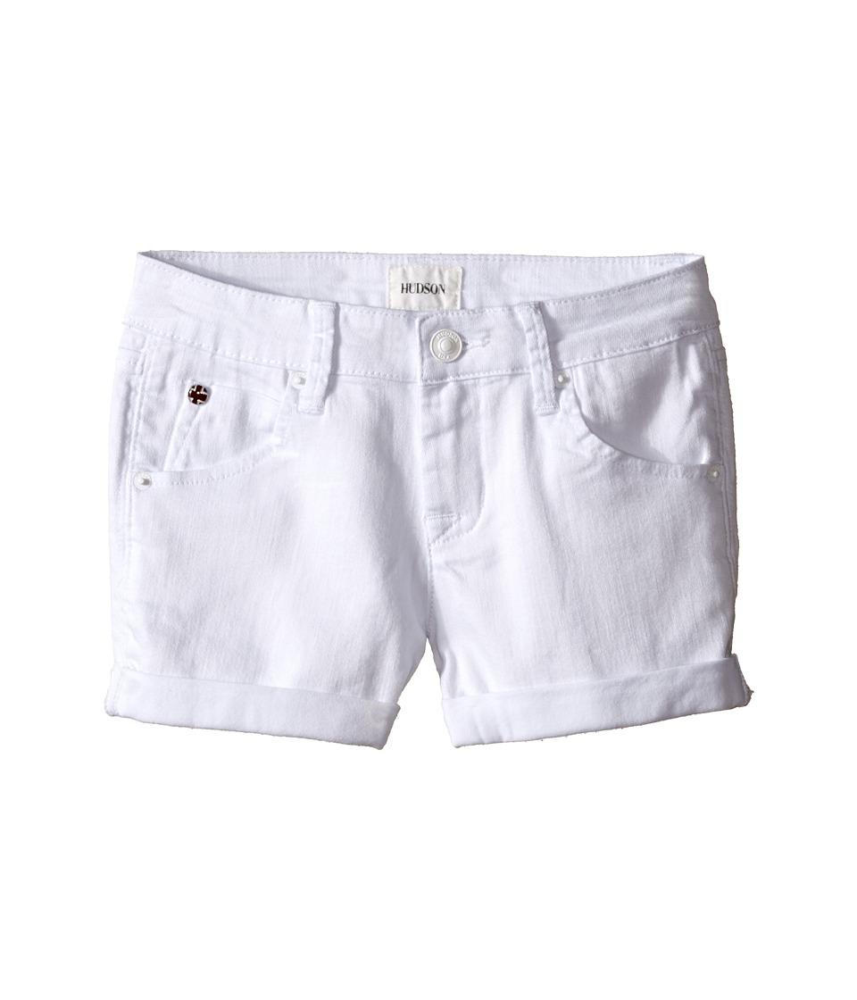 Hudson Kids 2 1/2 Roll Shorts in White Big Kids White Girls Shorts