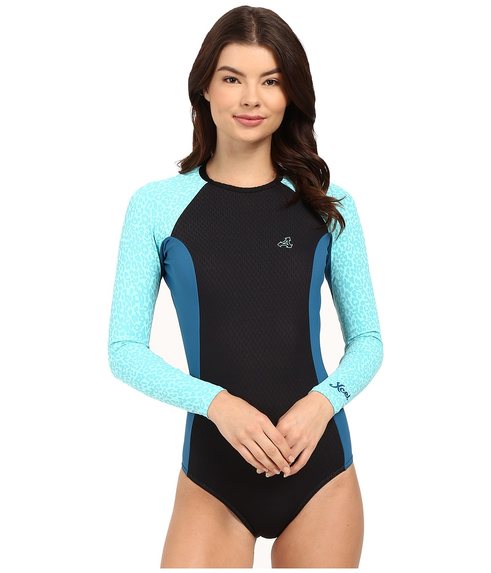 XCEL Wetsuits Drylock Cheeky Bikini Cut Long Sleeve Springsuit Black/Denim/Honey Dew Womens Wetsuits One Piece