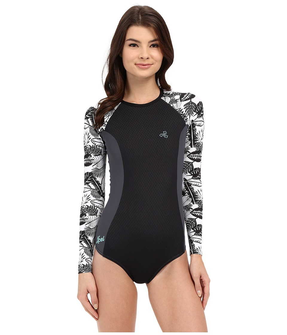 XCEL Wetsuits Drylock Cheeky Bikini Cut Long Sleeve Springsuit Black/Gunmetal/White Womens Wetsuits One Piece