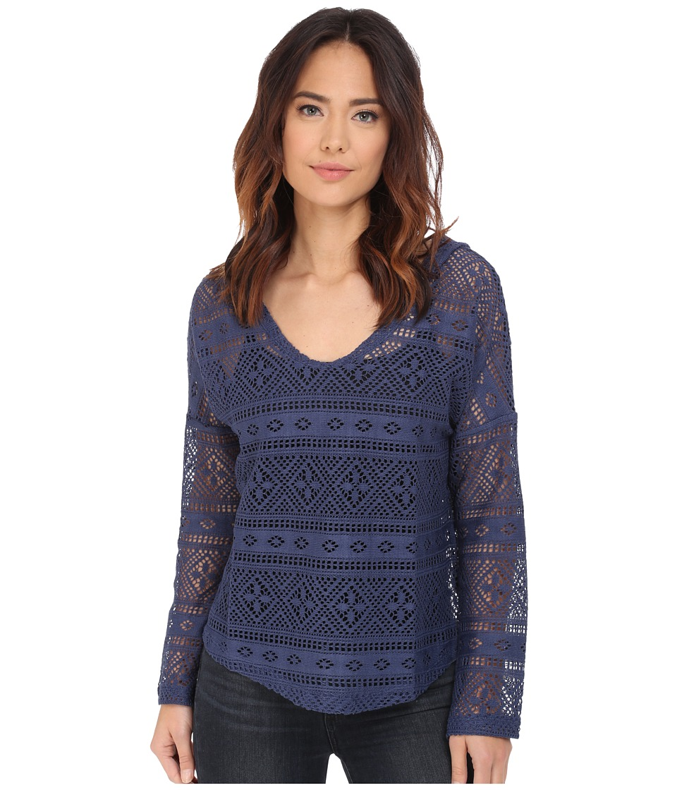Dylan by True Grit Crossroads Crochet Hoodie Indigo Womens Sweatshirt