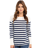 Michael Stars - Linen Knit Stripe Long Sleeve Boat Neck