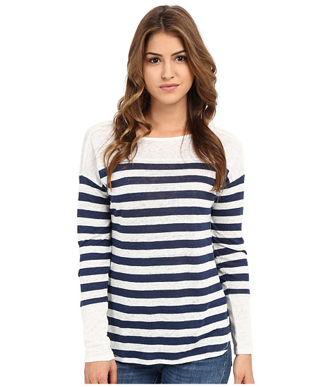 Michael Stars Linen Knit Stripe Long Sleeve Boat Neck
