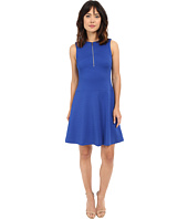 Calvin Klein - Textured Flare Dress w/ Front Zip