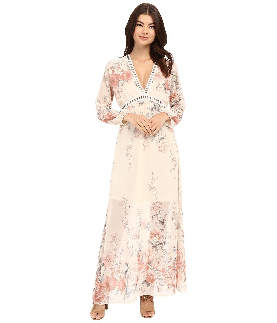 Brigitte Bailey Isabella V Neck Floral Maxi Dress Ivory/Rose Floral Womens Dress
