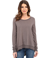 Dylan by True Grit - Soft Vintage Knit Long Sleeve Asymetrical Crew