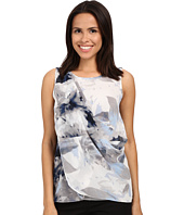 Calvin Klein - Sleeveless Top w/ Printed Chiffon