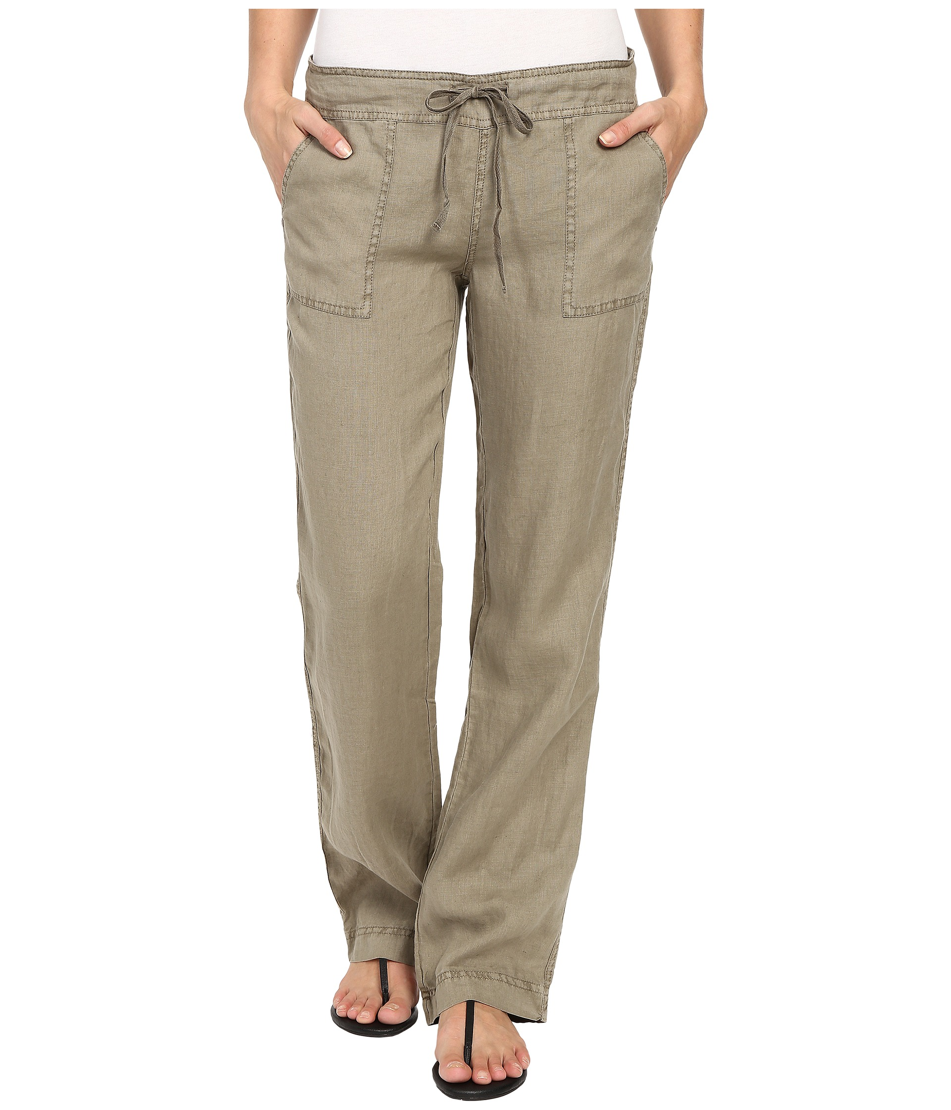 Luxury  By Ralph Lauren Jessie Linen Drawstring Pant In Green Loden  Lyst