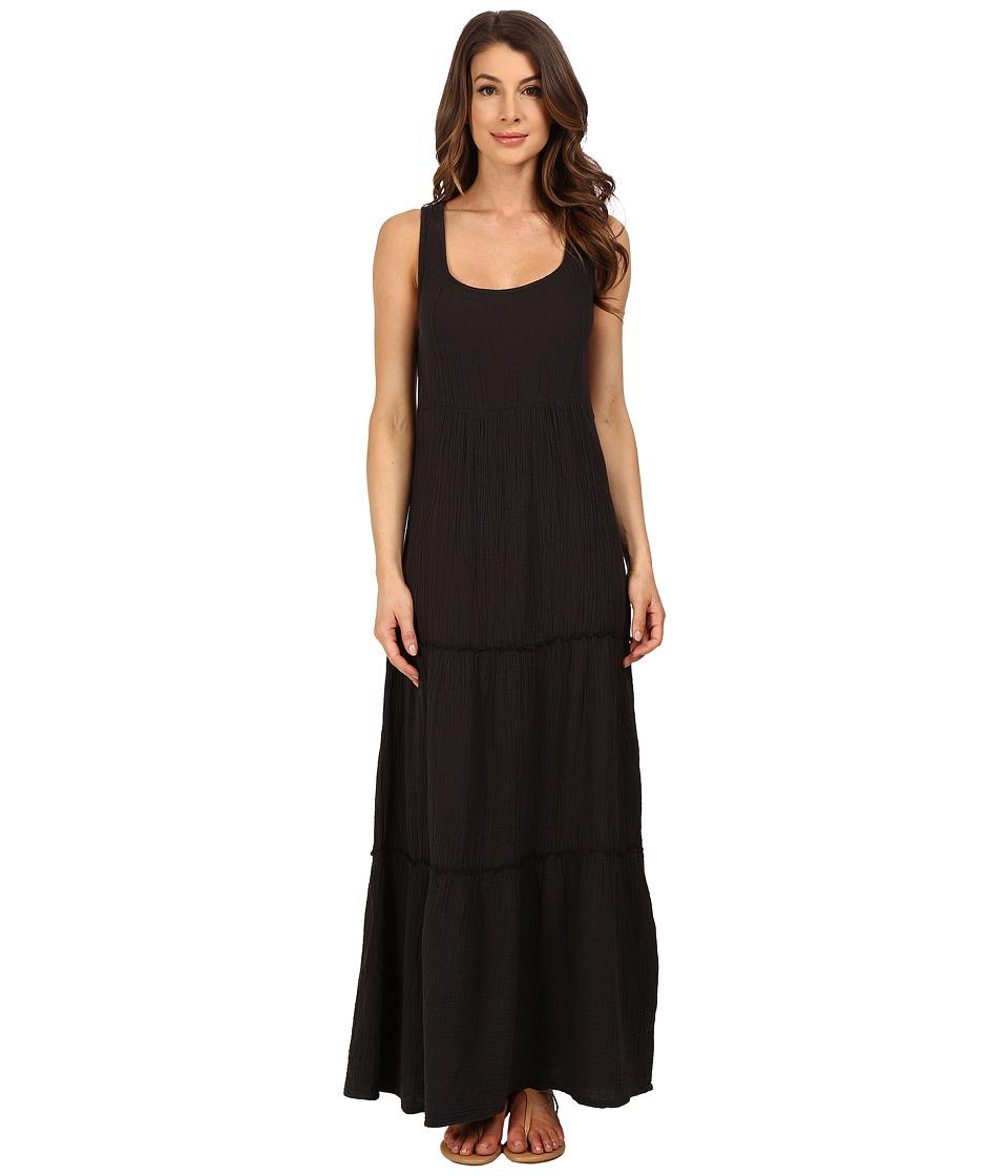 Dylan by True Grit Soft Gauzy Cotton Tiered Tank Maxi Dress Vintage Black Womens Dress