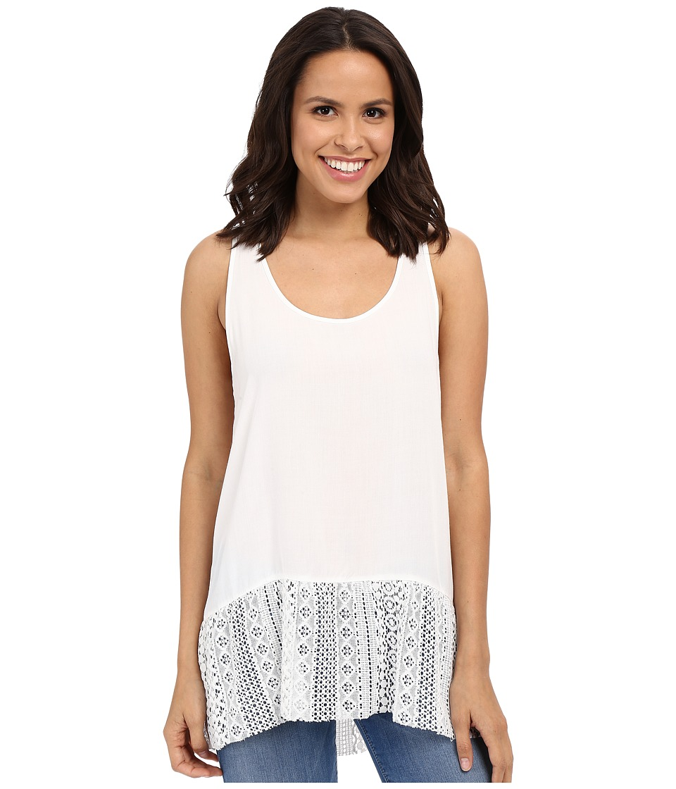Dylan by True Grit Dreamcatcher Flirty Tank Top w/ Lace Border Perfect White Womens Sleeveless
