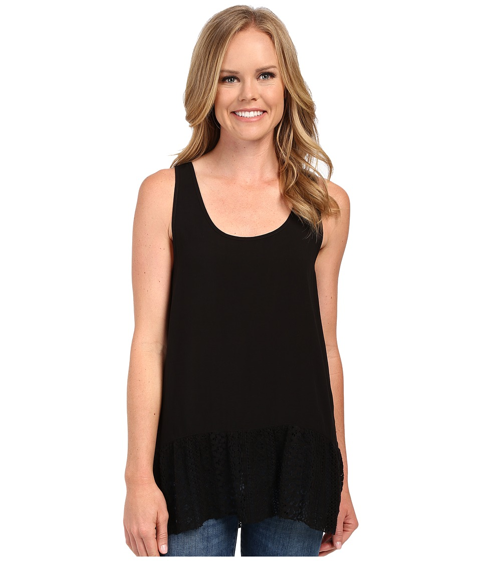 Dylan by True Grit Dreamcatcher Flirty Tank Top w/ Lace Border Black Womens Sleeveless