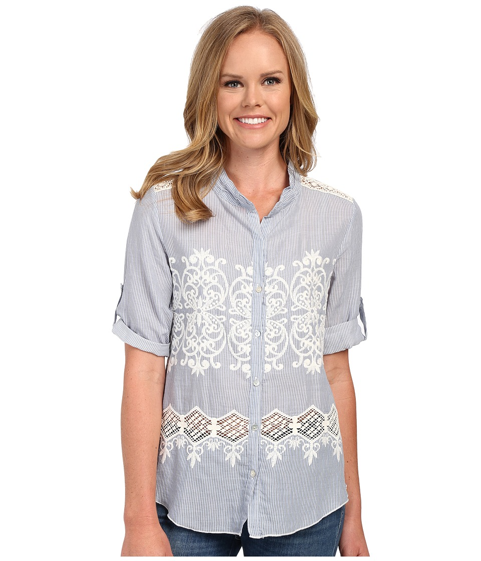 Dylan by True Grit Chambray and White Embroidered 3/4 Roll Sleeve Chambray Womens Long Sleeve Button Up