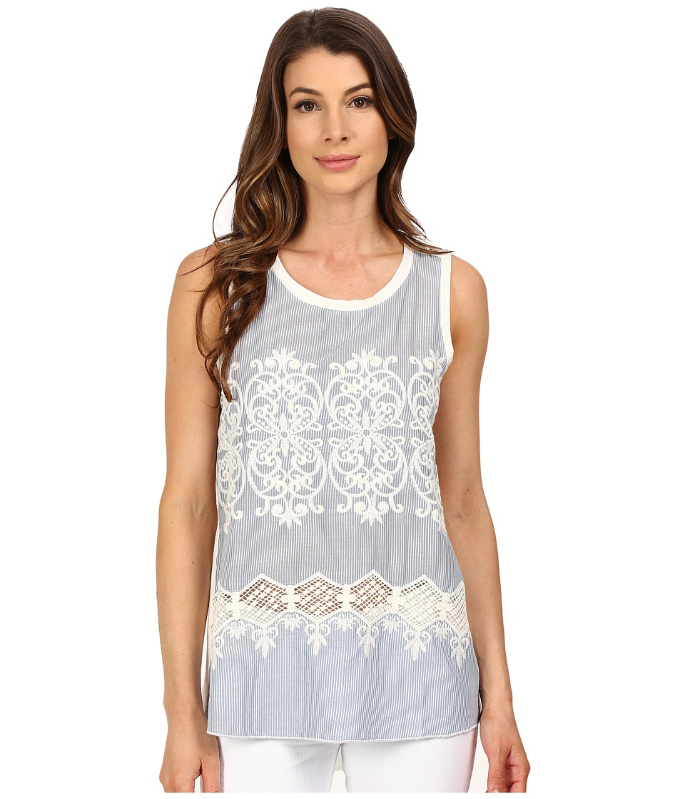 Dylan by True Grit Chambray and White Embroidered Hi Lo Tank Top w/ Knit Back Chambray Womens Sleeveless