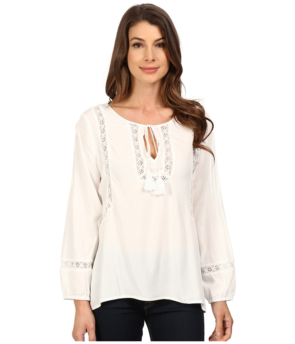 Dylan by True Grit Dreamcatcher Lace Tie Top Perfect White Womens Clothing