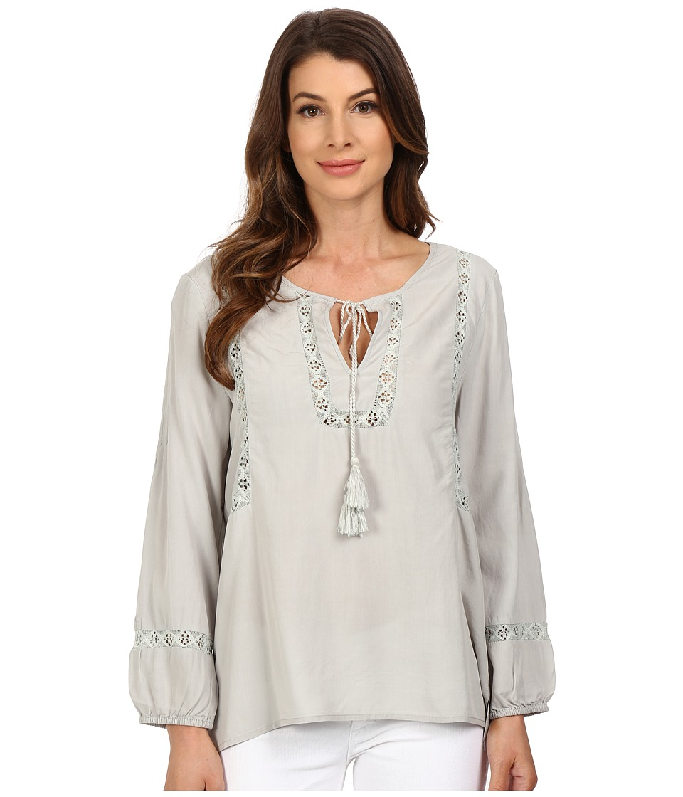 Dylan by True Grit Dreamcatcher Lace Tie Top Smoke Womens Clothing