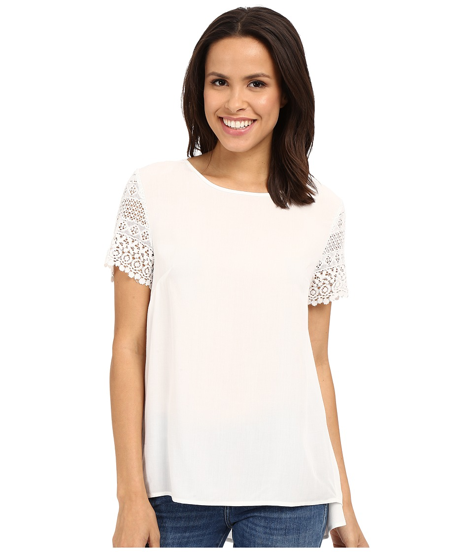 Dylan by True Grit Dreamcatcher Short Sleeve Lace Sleeve Blouse Perfect White Womens Short Sleeve Pullover