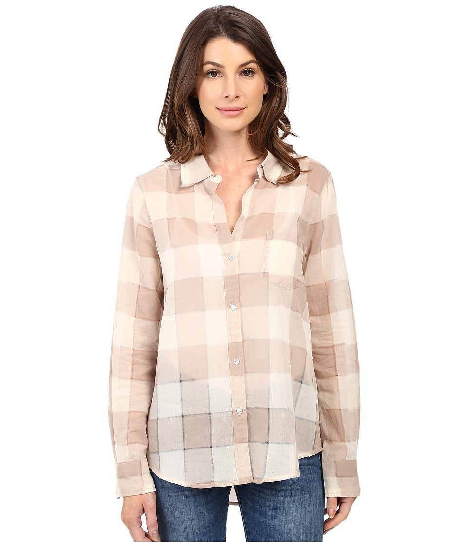 Dylan by True Grit - Sheer Buffalo Plaid One-Pocket Blouse (Vintage Khaki) Women's Blouse plus size,  plus size fashion plus size appare