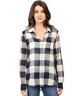 Dylan by True Grit - Sheer Buffalo Plaid One-Pocket Blouse