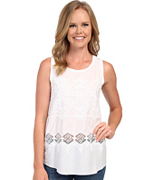 Dylan by True Grit - Embroidered Hi-Lo Sleeveless Tank Top w/ Knit Back