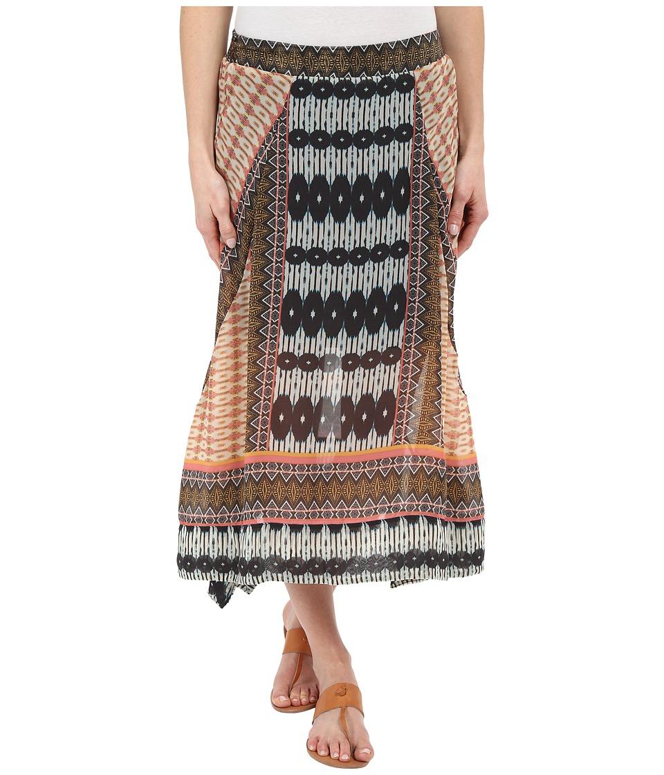 Dylan by True Grit Malta Boho Skirt Multi Orange/Indigo Womens Skirt