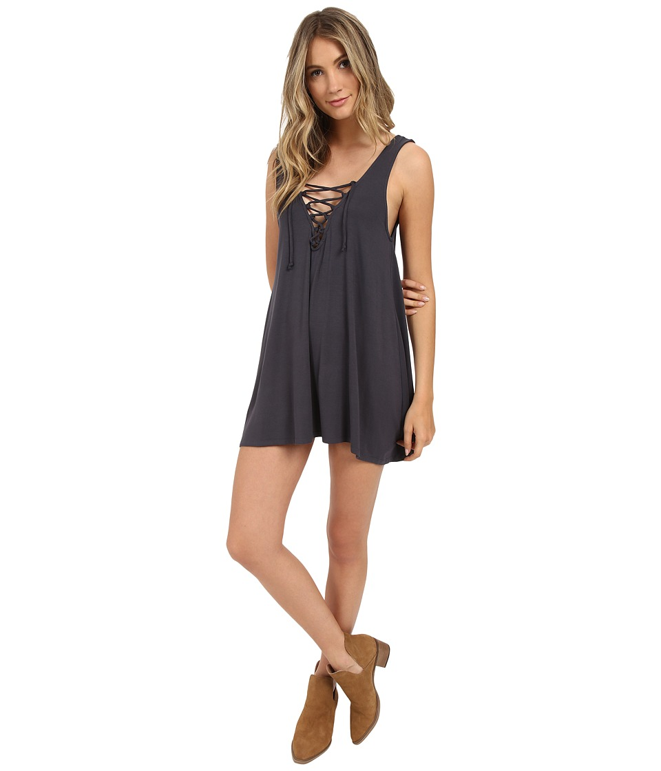 Lucy Love Lace Me Up Shift Faded Black Womens Dress