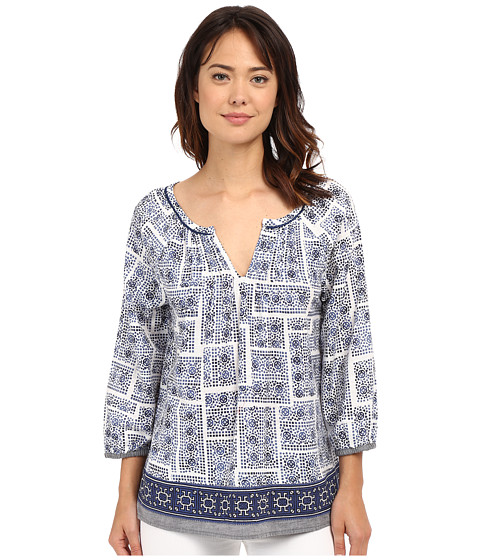 Dylan by True Grit Mosaic Blouse with Embroidery Border