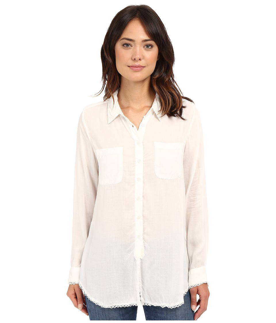 Dylan by True Grit Dream Cotton Long Sleeve Two Pocket Shirt with Crochet White Womens Clothing