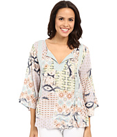 Dylan by True Grit - Sun Kissed Floral Billowy Peasant Blouse