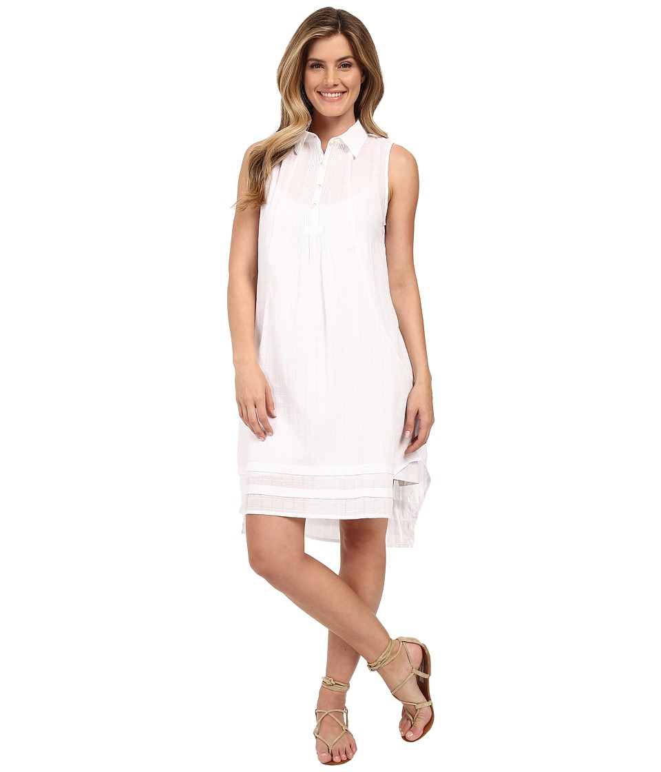 Dylan by True Grit Pucker Plaid Sleeveless Shirtdress with Slip White Plaid Womens Dress