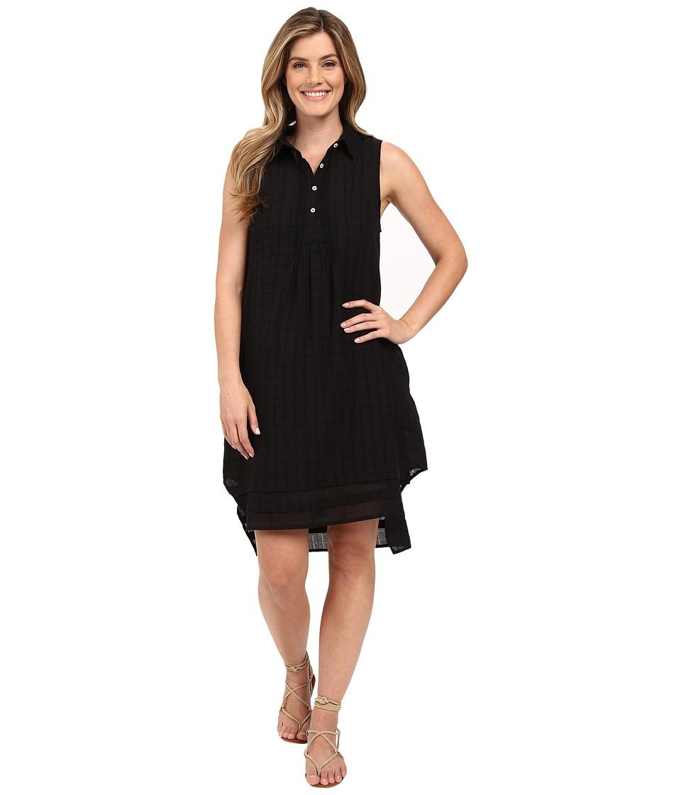 Dylan by True Grit Pucker Plaid Sleeveless Shirtdress with Slip Black Womens Dress