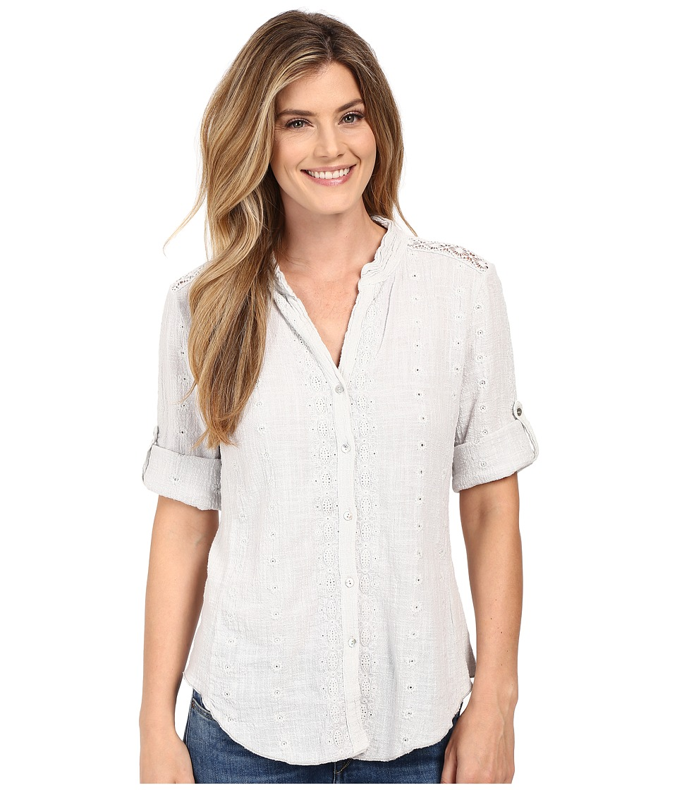 Dylan by True Grit Cross Hatch Cotton Embroidered 3/4 Roll Sleeve Shirt Pale Sky Womens Blouse