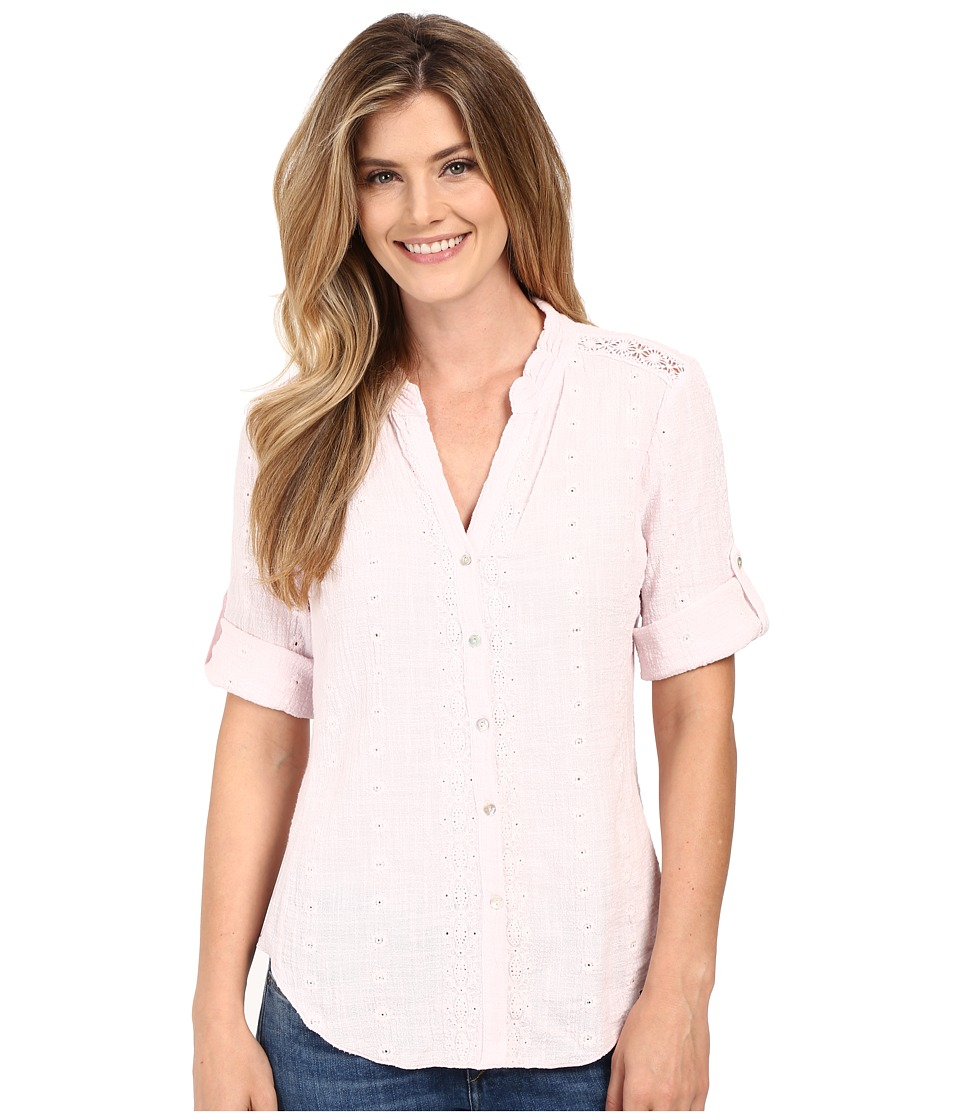Dylan by True Grit Cross Hatch Cotton Embroidered 3/4 Roll Sleeve Shirt Pretty Pink Womens Blouse