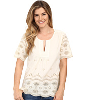 Dylan by True Grit - Mineral Washed Embroidery Short Sleeve Border Blouse