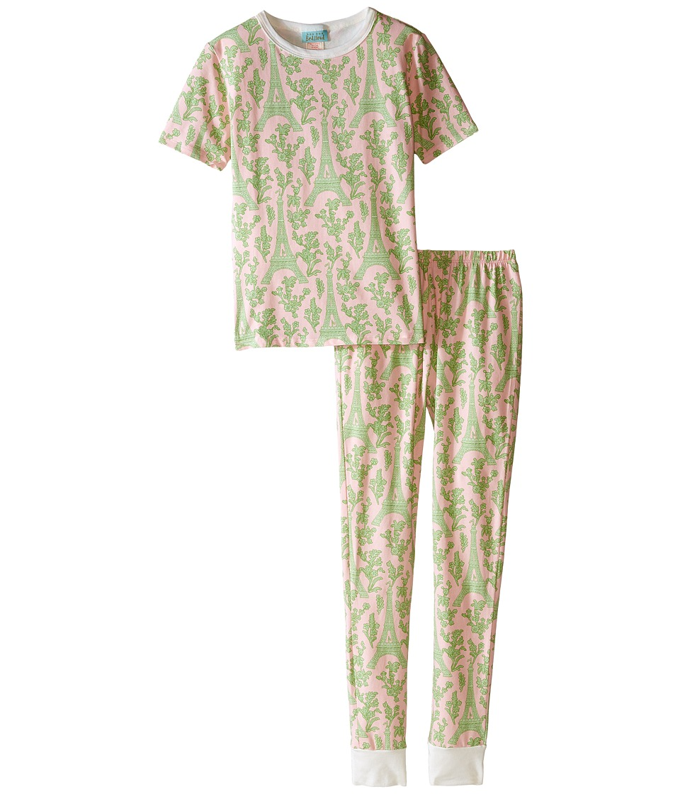 BedHead Kids Short Sleeve Tween Snug PJ Big Kids Pink/Green Eiffel Girls Pajama Sets