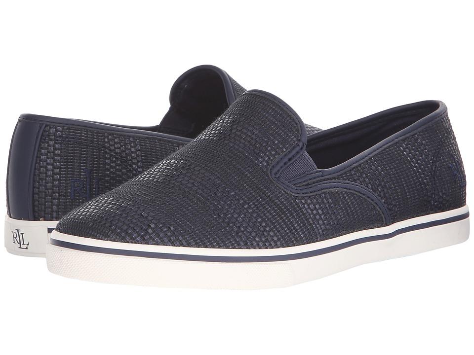 LAUREN Ralph Lauren Janis (Navy Stripe Texture Faux Straw) Slip-On Shoes